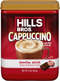 Hills Bros. Instant Cappuccino Mix, Mocha Mint Cappuccino Mix – Easy to Use, Enjoy Coffeehouse Flavor from Home –Decadent Cappuccino with a Mix of Chocolate and Mint Flavors (15 Ounces, Pack of 6)