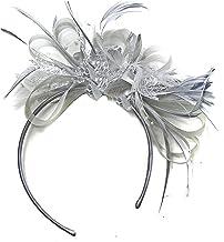 Fuchsia Hot Pink and Burgundy Dark Red Net Hoop Feather Hair Fascinator Headband Wedding Royal Ascot Races