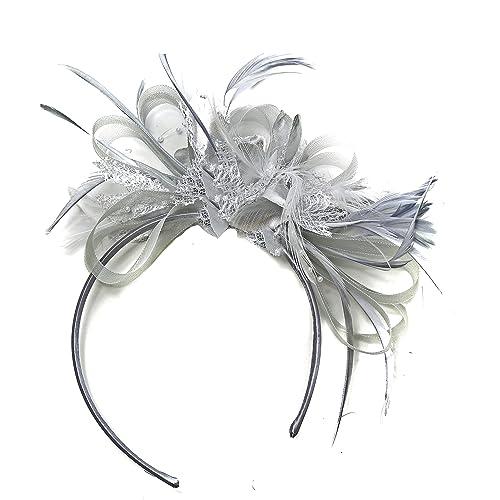 Silver Grey Net Hoop Feather Hair Fascinator Headband Wedding Royal Ascot  Races 490581ca6