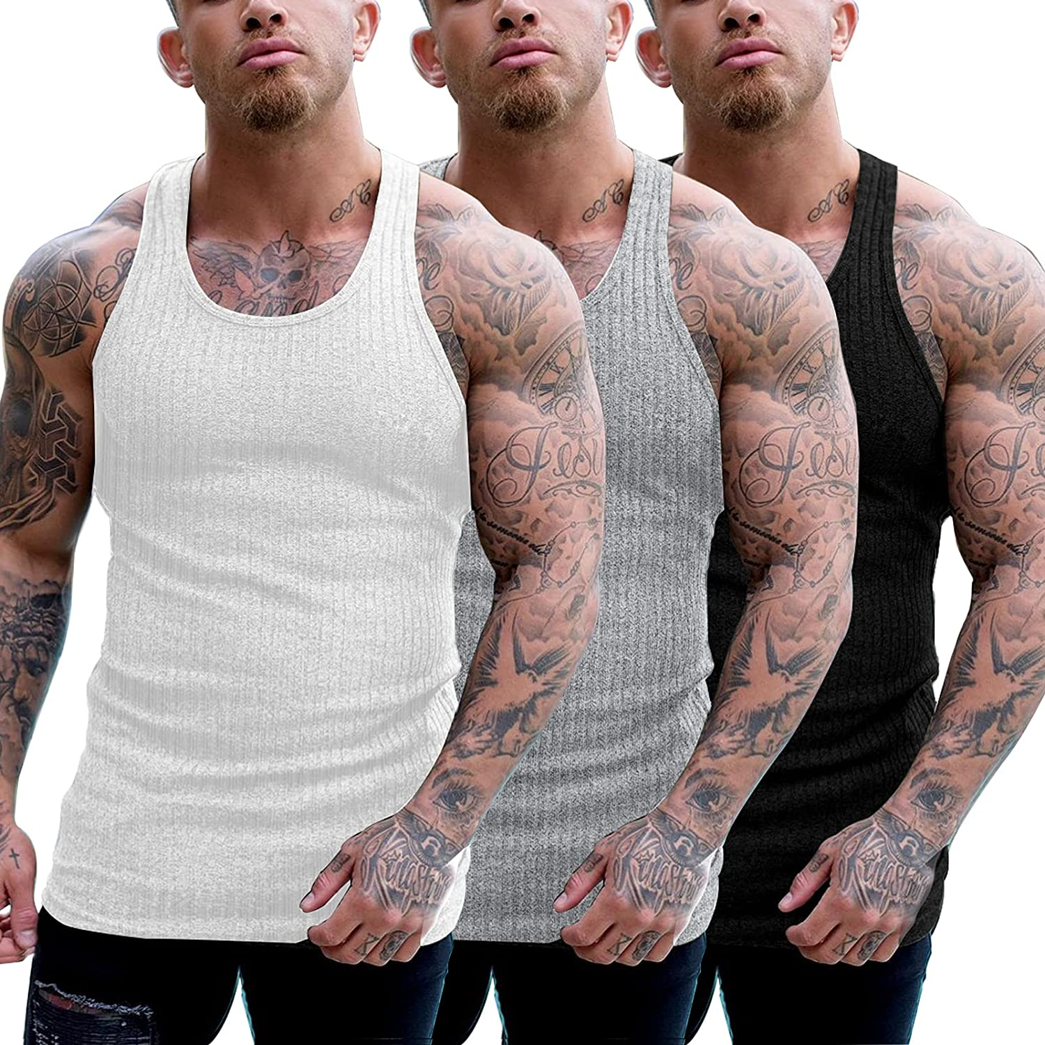 COOFANDY Men's 3 Be super welcome Pack Ribbed Ca Sleeveless Tops Tank At the price Shirts