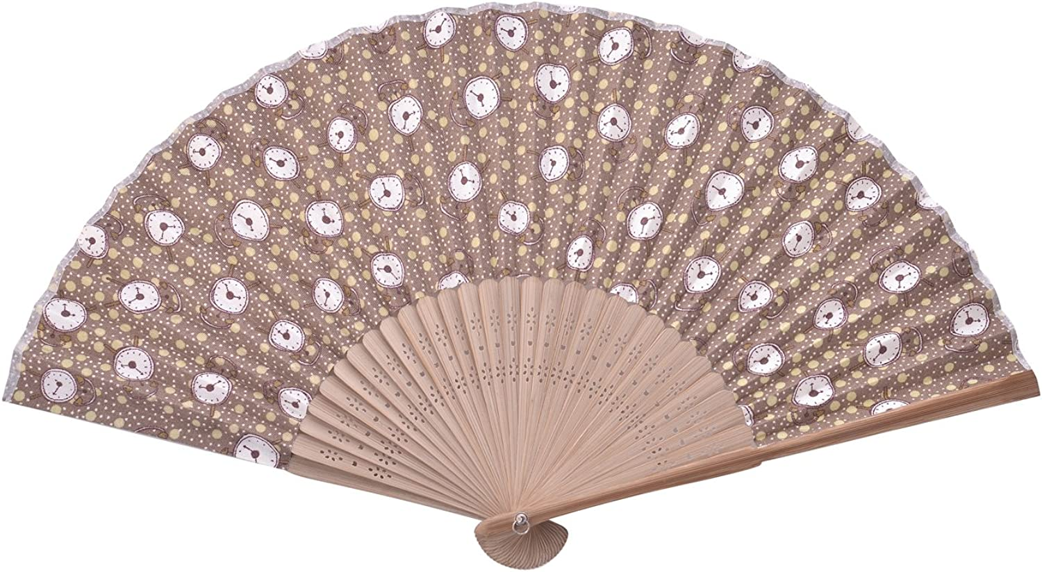 Salutto Hand Fan with Beautiful Fabric Printed (Anchor)