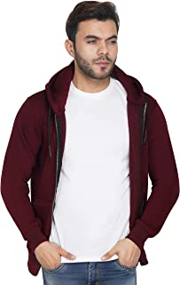 Urban Age Clothing Co. Men's Cotton Blend Fleece Plain Zipper Hoodie for Winters Temperature 0 Degrees to 25 Degrees