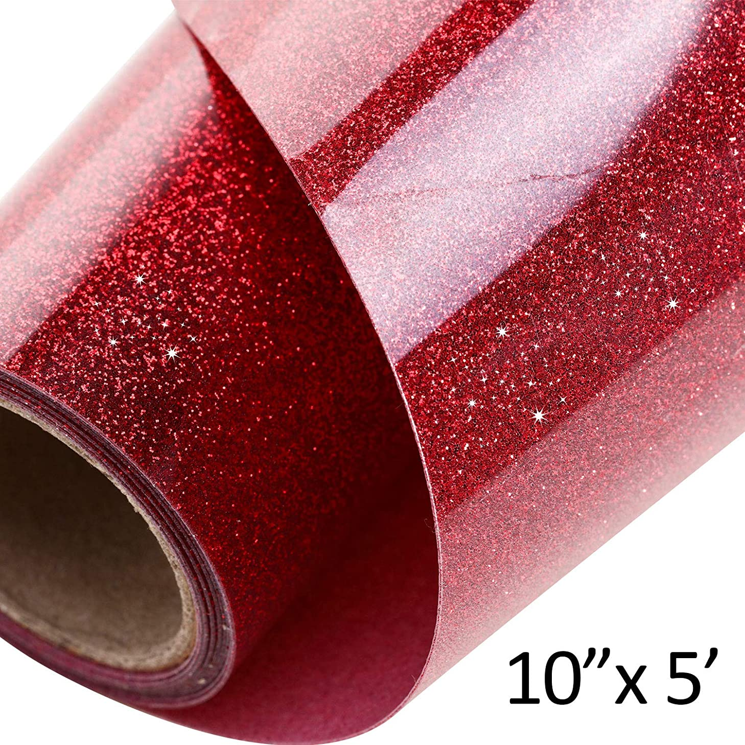 1 Roll Glitter Heat Transfer Vinyl 10 Inch by 5 Feet for T-Shirts, Hats, Clothing, Iron on HTV Compatible with Cricut, Cameo, Heat Press Machines, Sublimation (Red)