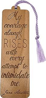 Wood Bookmark - Jane Austen Pride and Prejudice Quote - Laser Engraved - Made in The USA - Wooden Book Mark with Lavender Tassel - Elizabeth Bennet