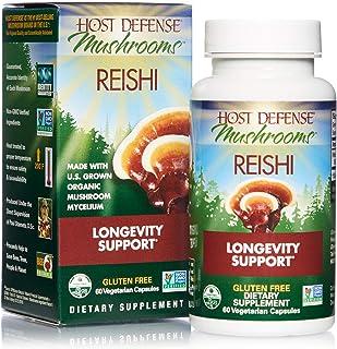 Host Defense, Reishi Capsules, Supports General Wellness and Vitality, Daily Mushroom Mycelium Supplement, USDA Organic, 6...