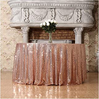Poise3EHome 132-Inch Round Sequin Tablecloth for Party Cake Dessert Table Exhibition Events, Rose Gold