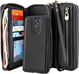 Lacass Dual Zipper Detachable Magnetic Leather Wallet Case Wristlets Clutch Handbag Purse with Card Slots Money Pocket Shockproof Protection Back Cover for LG Stylo 4 / Stylo 4 Plus/Stylo 4 + (Black)