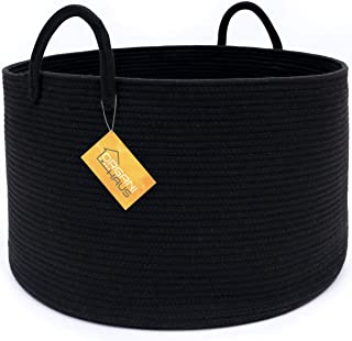 OrganiHaus XXL Cotton Rope Basket in Black   Wide 20x13 Storage Basket with Long Handles   Decorative Black Blanket Basket for Living Room and Laundry
