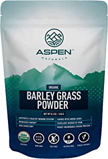 Premium Organic Barley Grass Powder - Ultimate Greens Powder Superfood, Aids a Healthy Immune System & Digestion, Rich in Amino Acids, Vitamins, Chlorophyll, Protein, Add to Smoothies & Juice- Aspen