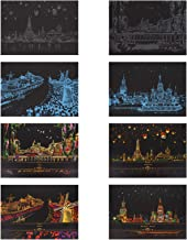 TOYMYTOY 8pcs Rainbow Scratch Painting Paper Sketch DIY Art Craft City Series Night View Scratchboard Scratch Art Paper Cr...