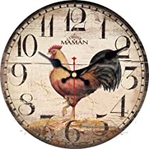 ShuaXin 14 Inch Primitive Country Rustic Rooster Clock Quartz Movement Silent Non-Ticking Wooden Wall Clocks for Kitchen Study Office Room Decorations (R05)
