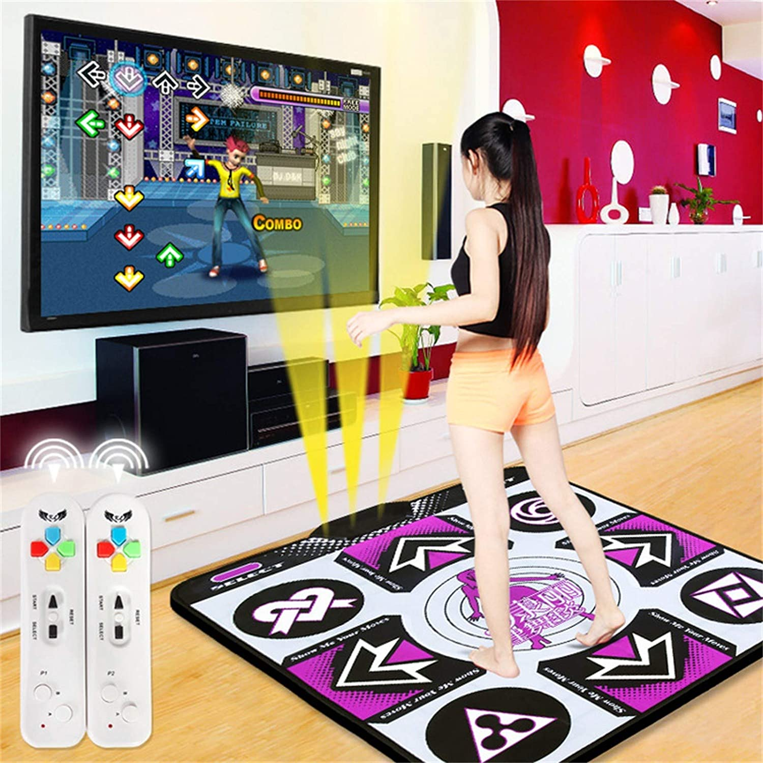 Yoga Fitness Dancing Step Dance Mats for PC TV Plug /& Play B Double Dance Mat for Kids Adults I Non-Slip Wireless Dancer Step Pads W// 150 Games and AUX Music Levels