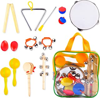 Montessori Musical Toys for Toddlers - Assorted Wooden Instruments Band in a Bag, 15 Pieces Sensory Play Set Therapy Starter Kit for Children, Drum - Tambourine in One, Eggs, Shakers, Maracas