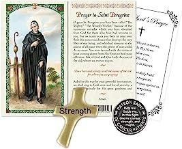 Laminated St Peregrine Prayer Card, Hand Held Comfort Cross, Saint Peregrine Pocket Token Coin, The Lord's Prayer | Cathol...