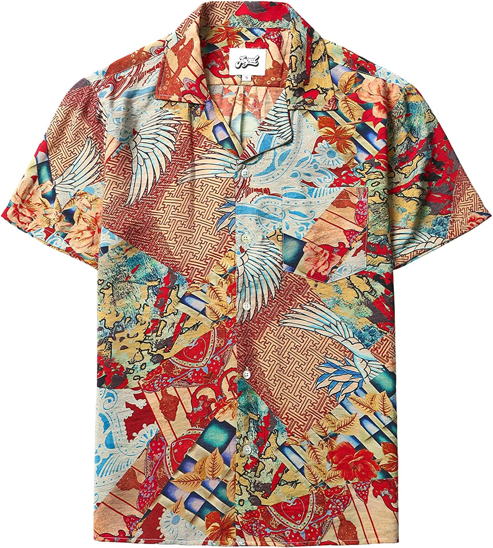 JOGAL Men's Flower Luxury Printed Short Sleeve Button Down Hawaiian Shirts