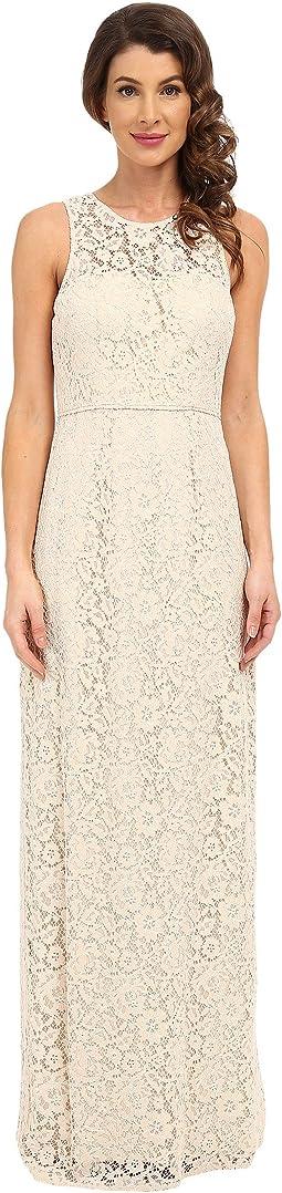 Harper Illusion Neck Lace Long Gown