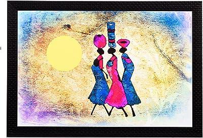 eCraftIndia 'Tribal Women Abstract' UV Art Painting (Synthetic Wood, 36 cm x 28 cm, Satin Matt Texture)
