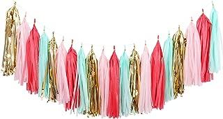 Fonder Mols 20pcs Coral Mint Blush Pink Gold Tissue Paper Tassel Garland for Wedding Party Girl Birthday Nursary Room Decorations A17
