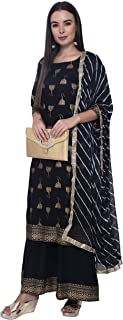 Yazo Womens Rayon Gold Printed Kurta And Palazzo With Chiffon Dupatta Set (Black)