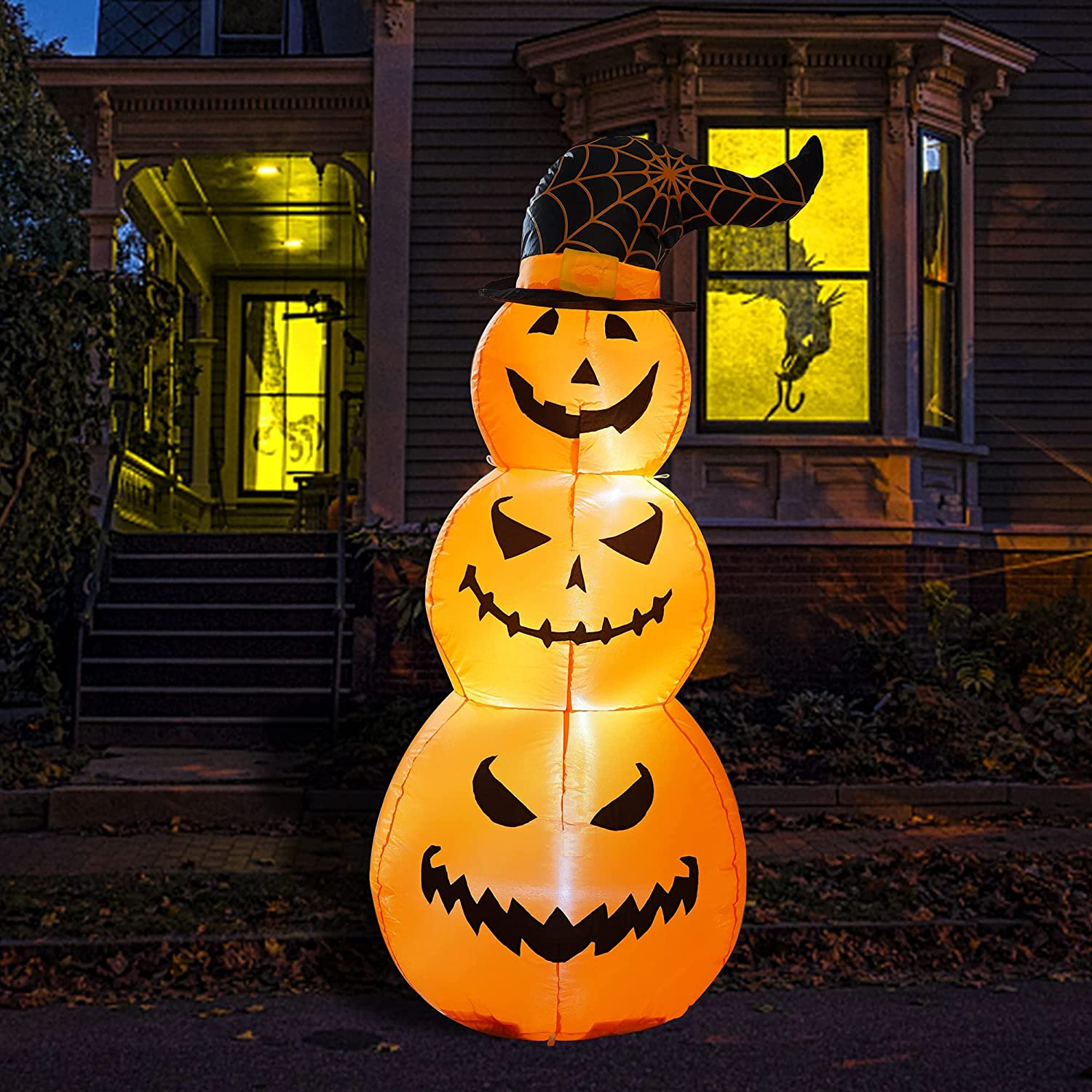 Hourleey 5 FT Halloween Inflatables Outdoor Stacked Pumpkins with Witches Hat, Halloween Blow Up Yard Decorations with Built-in LED Lights for Indoor Outdoor Party Garden Lawn Holiday Decor