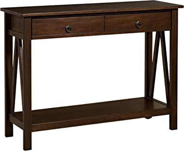 "Linon Home Dcor Console Table, 42.01"" w x 13.98"" d x 30.71"" h, Antique Tobacco"