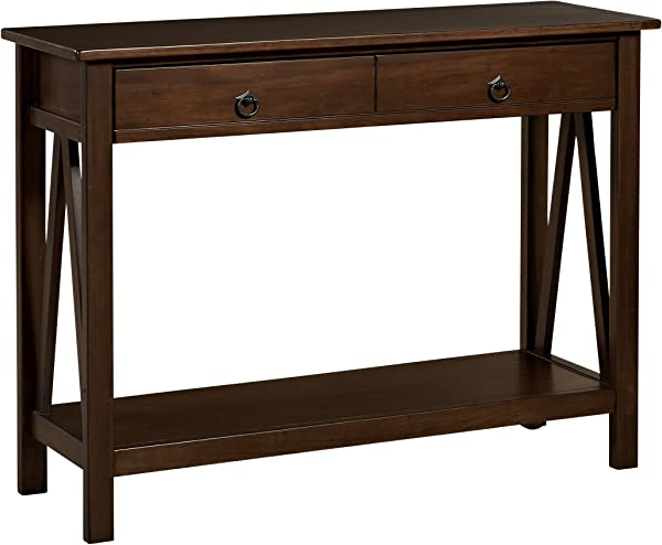 Linon Home Dcor 86152ATOB 01 KD U Console Table 42 01 W X 13 98 D X 30 71 H Antique Tobacco