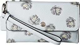 Triple Small Wristlet in Floral Printed Leather