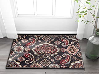 "Well Woven Vijaya Medallion Blue Vintage Persian Floral Oriental Paisley Doormat Rug 2x3 (20"" x 31"" Mat) Neutral Modern Sh..."