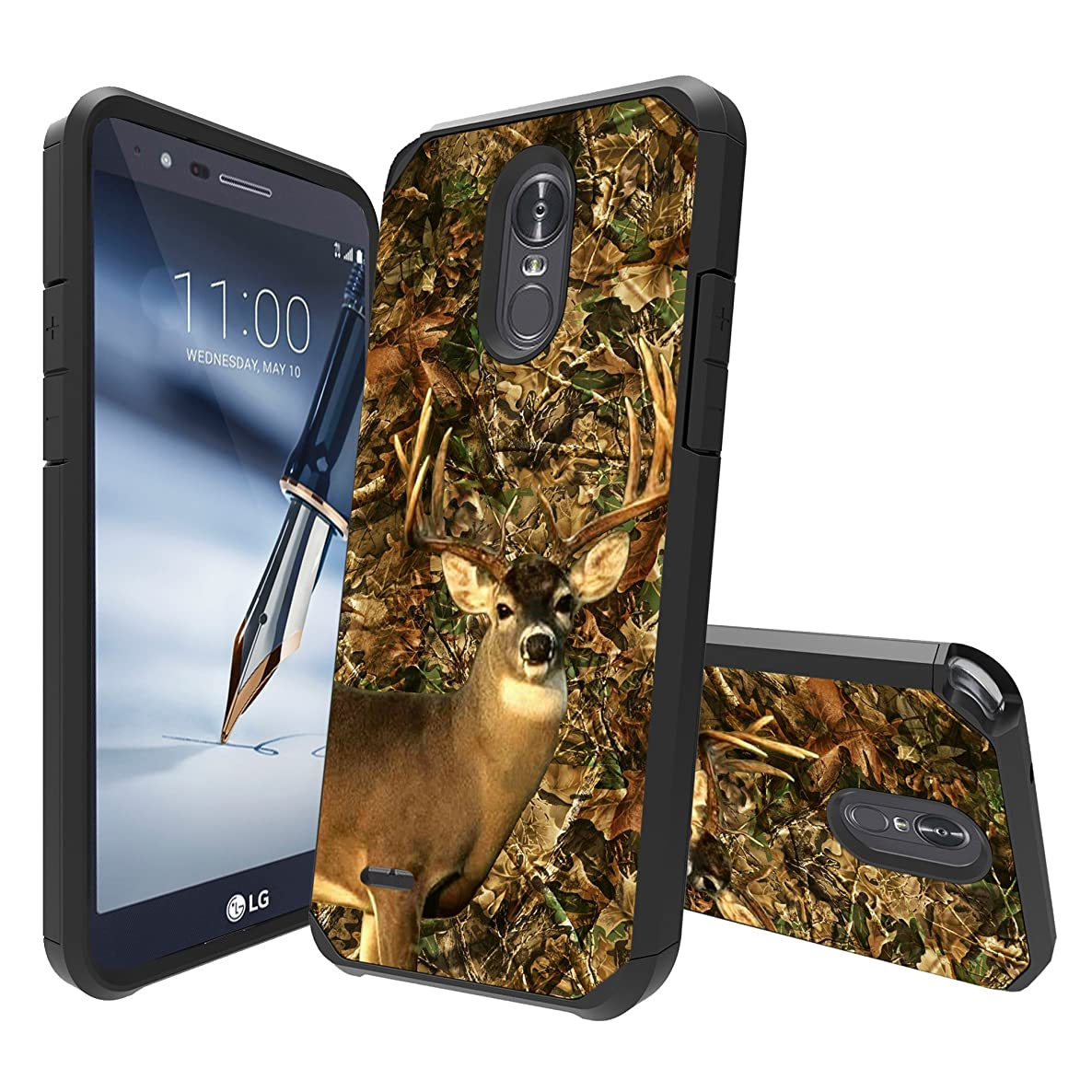 MINITURTLE Case Compatible with LG Stylo 4 / LG Q Stylus [Slim Defender Case Compatible with Stylo 4][Slim Hard Back Plate Case][Hybrid 2-Piece] - Deer Leaves Camo