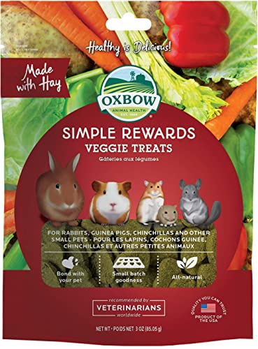 Oxbow Simple Rewards Veggie and Hay Blend Treats for Rabbits, Guinea Pigs, Chinchillas, and Small Pets