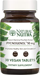 Natural Nutra Premium Pycnogenol, Supreme French Maritime Pine Bark Extract, Antioxidant Support, Blood Circulation and Joint Supplement for Men and Women, 50 mg, 30 Vegan Tablets