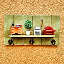 Wall Mounted Coat Rack Clothes Hat Hanger Holder Hooks Shelf Wood Creative, Yelllow, 3 Styles Available cxjff (Color : C, ...
