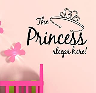 The princess sleeps here Vinyl Wall Art Inspirational Quotes Decal Sticker