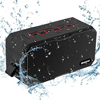 Speakers Bluetooth Waterproof IP67 Wireless Portable - DEEPOW 10W Bluetooth Speaker Stereo Bass Sound Powerful Shockproof Dustproof Subwoofers Superior 6-12 Hours Playtime with 3000mAh Power Bank for iPhone Android Phones Tablet and Other Bluetooth Devices(Black)