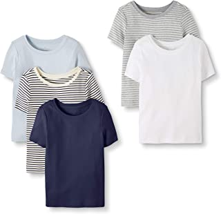 Moon and Back by Hanna Andersson Boys' and Girls' Toddler 5-Pack Organic Cotton Crew Neck Tee
