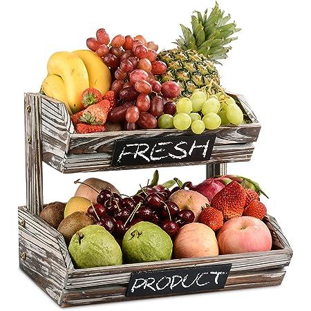 Panier de fruits en bois rustique 2 niveaux avec tableaux noirs, cuisine décorative de ferme évider le support d'organisateur de stockage de bol de fruits pour légumes, fruits, aliments, collations