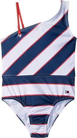 Tommy Hilfiger Kids Rugby Stripe One-Piece Swimsuit (Little Kids)