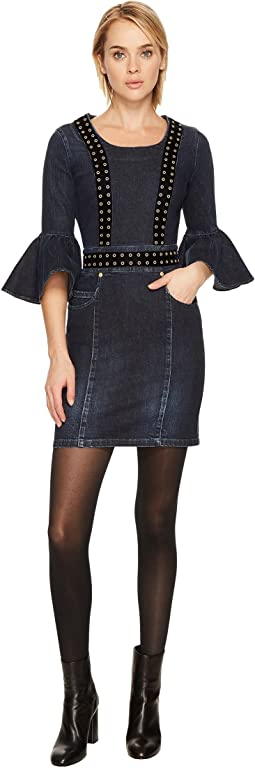 Pierre Balmain - Grommet Denim Bell Sleeve Dress