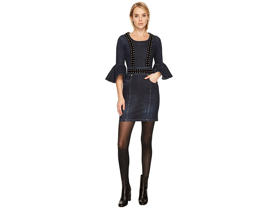 Pierre Balmain Grommet Denim Bell Sleeve Dress (Blue Denim) Women