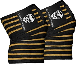 Gymreapers Knee Wraps (Pair) with Strap for Squats, Weightlifting, Powerlifting, Leg Press, and Cross Training - Flexible ...