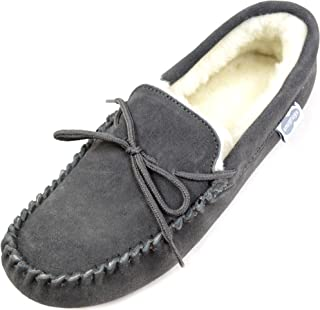 Men's Suede Sheepskin Moccasin Slippers with Soft Sole