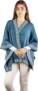100% Alpaca Wool Women´s Geometric Whirl Wrap Poncho Cape - Warm, Soft & Cozy