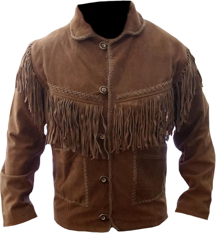 Classyak Men's Western Cowboy Fringed Suede Leather Jacket