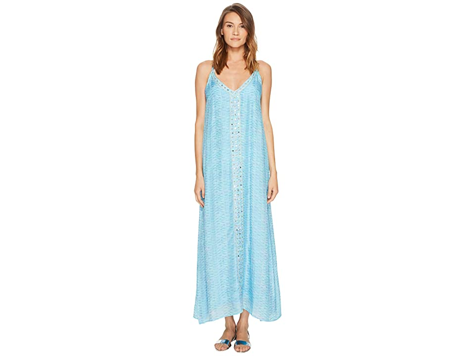 Letarte Embroidered Cover-Up (Aquamarine) Women