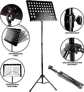 RockJam G905 Height & Angle Adjustable Orchestral Conductor Sheet Stand, Matte Black