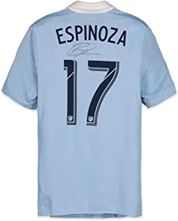 8f3a2ca19 Roger Espinoza Sporting Kansas City Autographed Match-Used Blue  17 Jersey  from the 2018