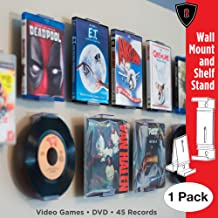 CollectorMount DVD Mount Video Game, 45 Record and Blu-Ray Shelf Stand and Wall Mount, Invisible and Adjustable, 1 Pack