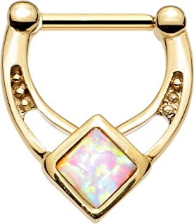 Body Candy Gold Anodized Titanium Steel Iridescent Accent Glamour Septum Clicker 16 Gauge 5/16