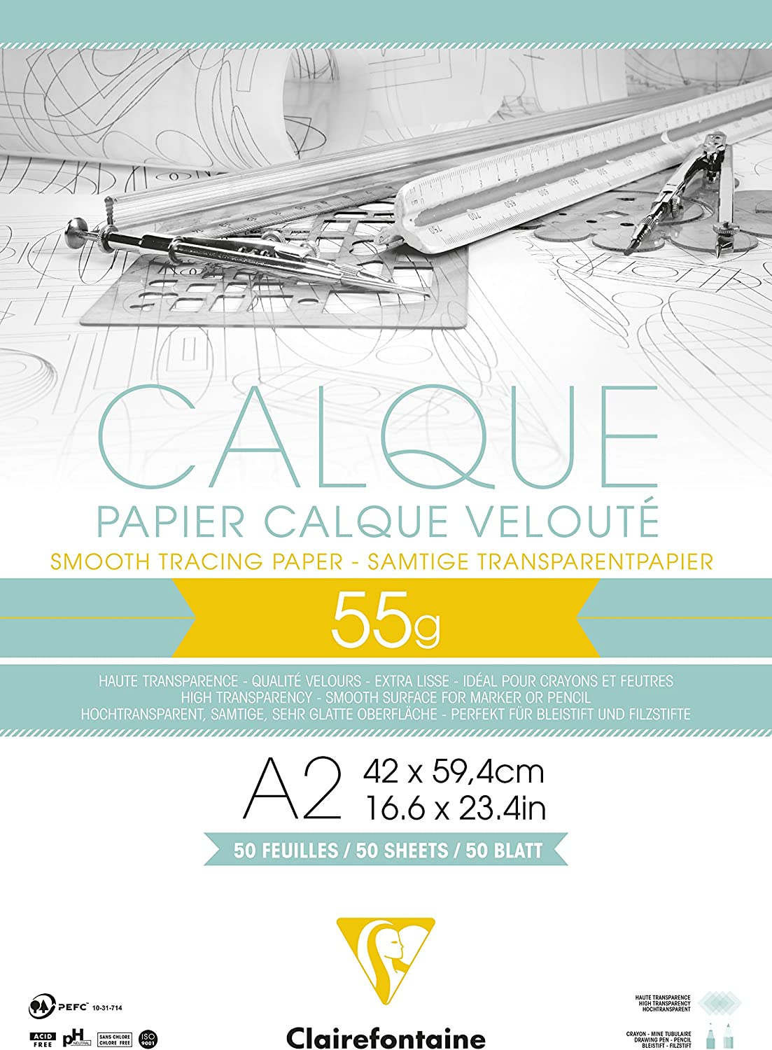 Clairefontaine A2 2021 Tracing Paper Pad g discount 55 50 Sheets