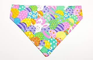 Easter Bunny and Eggs Pet No-Tie Dog Bandana Slip On Over the Collar